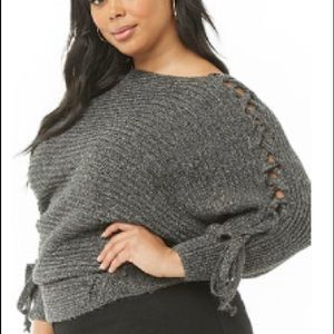 Sweaters - Plus size Charcoal lace up sweater